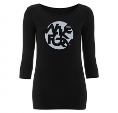 Women's 3/4 length sleeve black t shirt  | Wakeboarders T Shirt