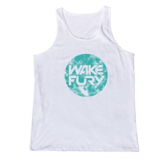 Men's white classic vest with aqua globe | Wakeboarders Clothing