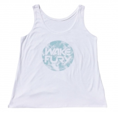 Women's white vest with aqua globe design | Wakeboarders Clothing